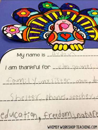 FREE thankful writing project and clip art set