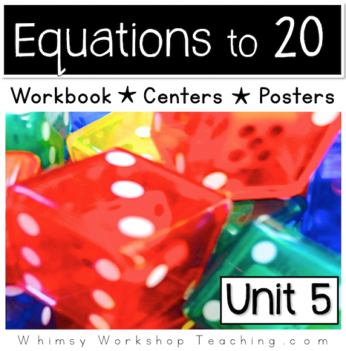 A comprehensive collection of math printables focusing on equations to 20, reference posters and hands on centers