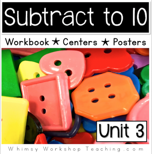 A comprehensive collection of math subtraction to 10 printables, reference posters and hands on centers