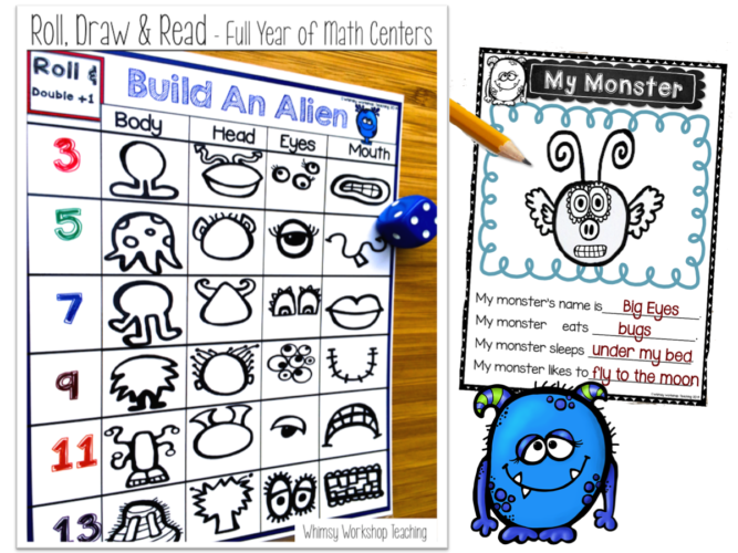 This is the cutest activity to practice both math and writing all year long! Roll the dice to build a creature, then use the writing templates to write about it!
