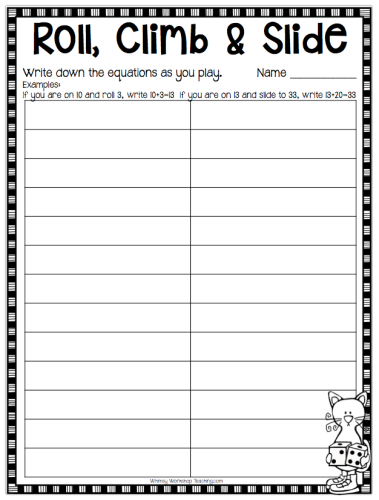 Board Game recording sheets for assessment