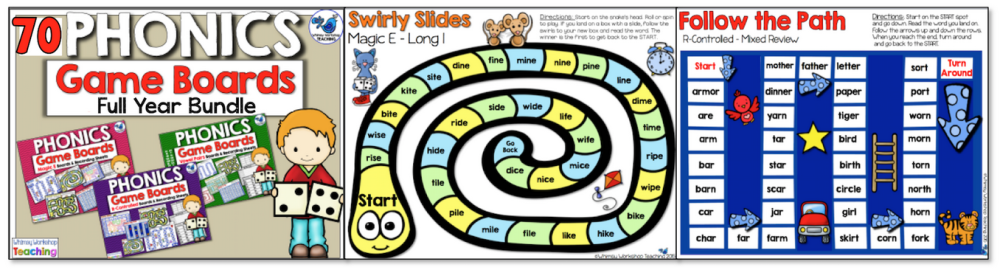 Phonics Board Games - Literacy Centers for the whole year!