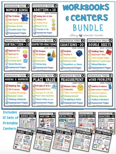 Math Bundle of Workbooks and Centers for the whole year