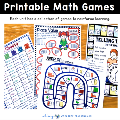 first grade math printable games