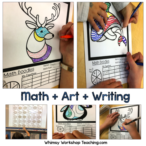 Math doodles integrate math, art and writing all together to practice core skills in math or writing centers