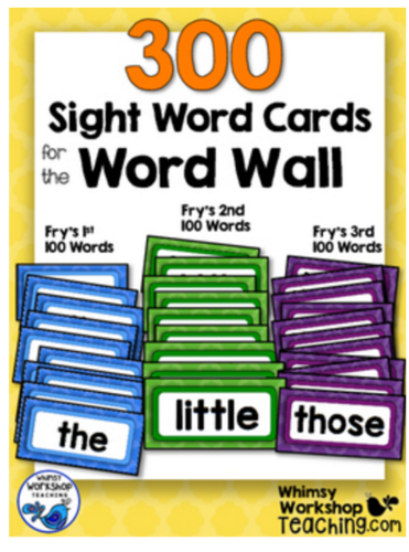 Complete set of cards for the word wall! 300 words (Fry) included.