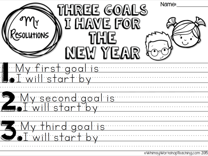 no prep printables to guide writing about goals for the new year differentiated formats for