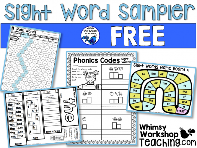 Free sample pages from the big bundle of sight word activities and printables