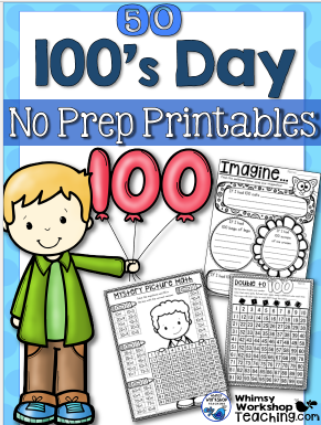 100 day printables for math and writing together