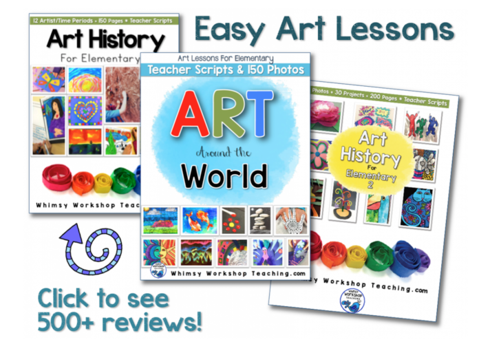 A year of art ideas for elementary students, includes step by step photo directions and a teacher script to read aloud!