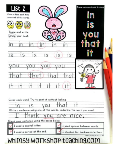 Differentiate your printing program with workbooks that cover sight words, letter sounds, spelling patterns and sentence editing.