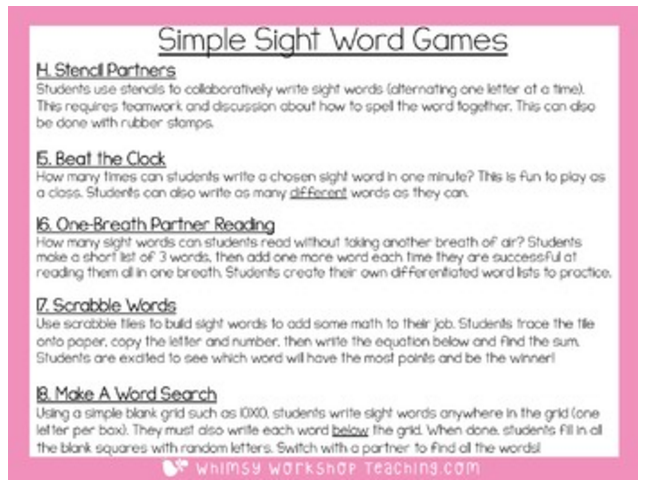 18 simple sight word practice ideas that you can start using right away (free download in preview)