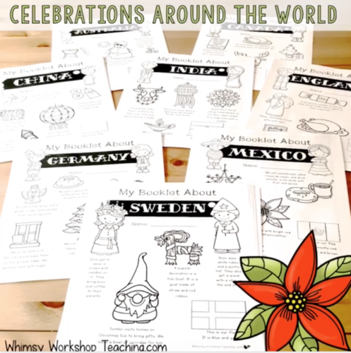 Explore cultures around the world at Christmas with DIY art projects and literacy printable booklets for each country!
