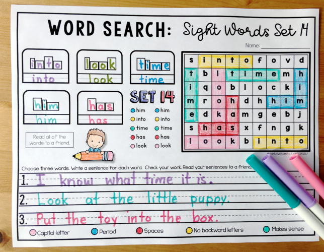 Sight Word Word Searches are a great way to practice spelling patterns, as well as sentences and self-editing!
