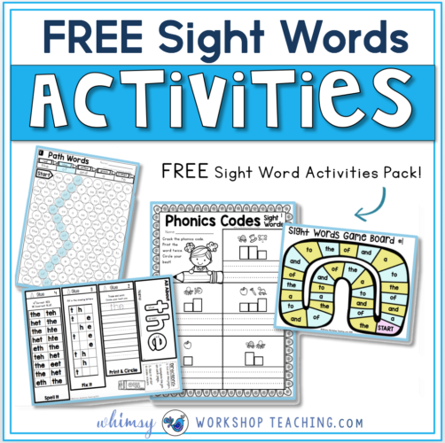 Sight word Free printables, minibook and board game