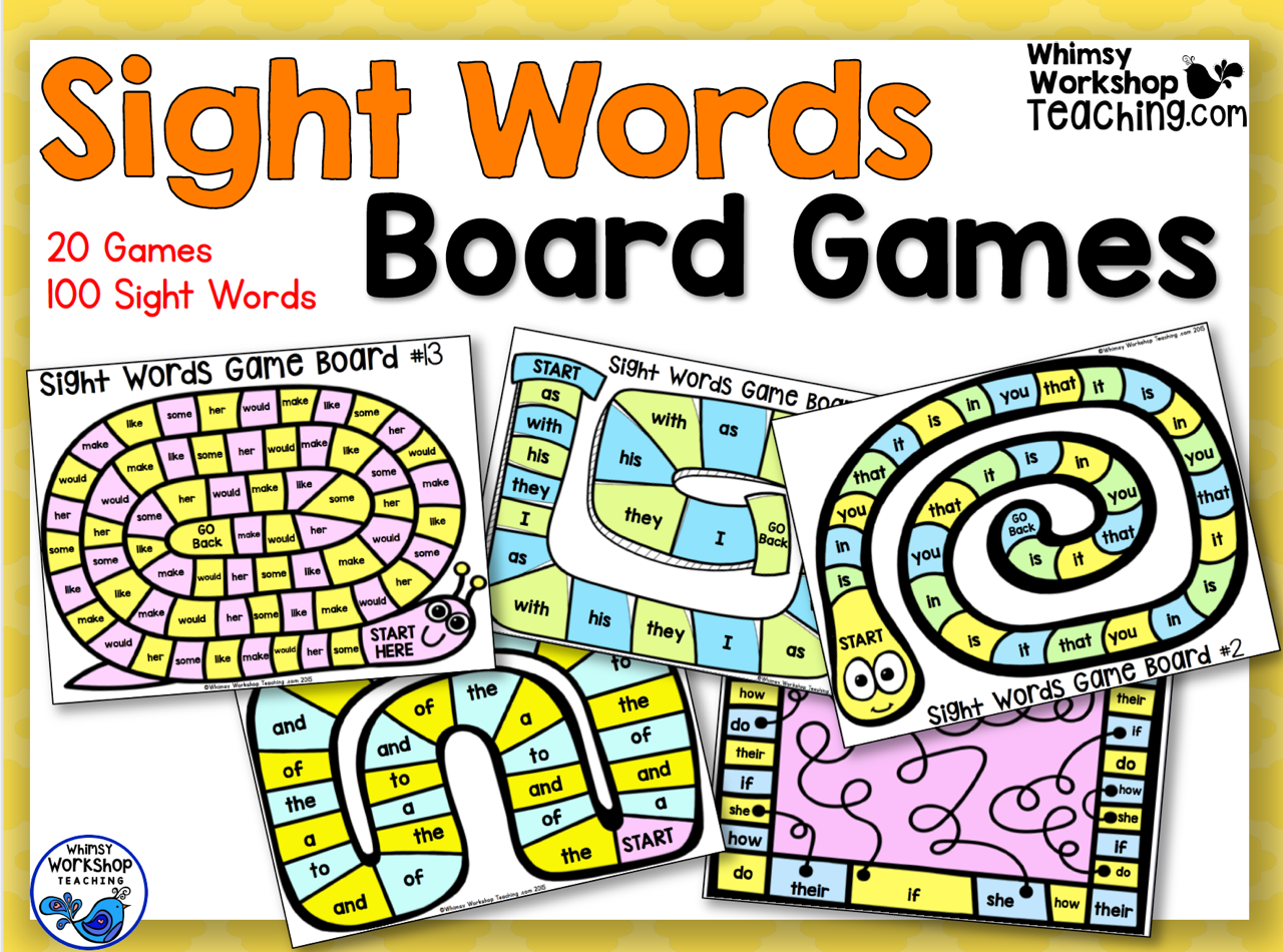 Sight Words Board Games Whimsy Workshop Teaching