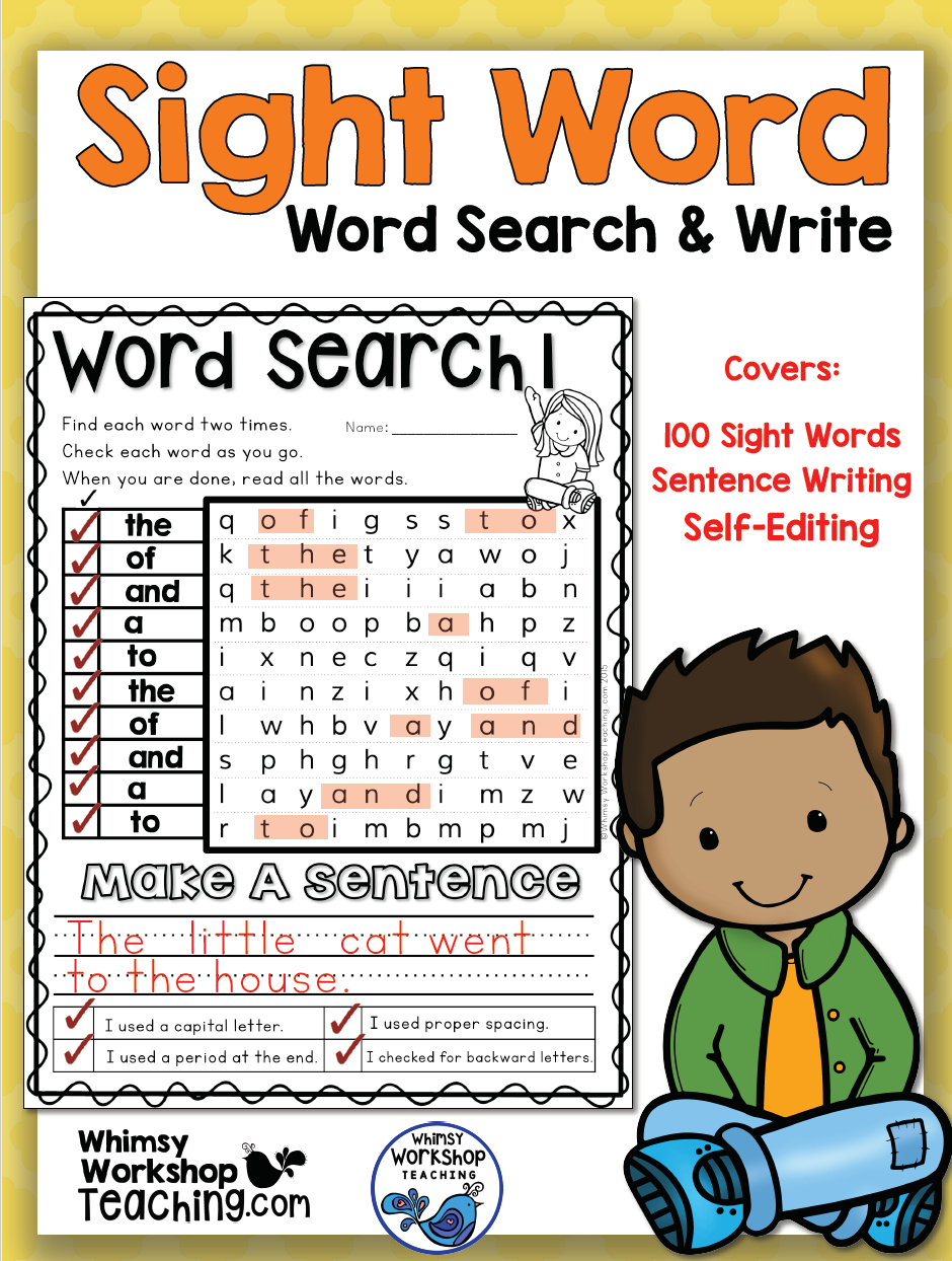 Sight Words Word Search Amp Write Whimsy Workshop Teaching