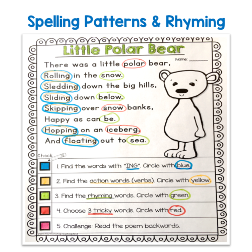 Poetry and close reading are a perfect match to practice rhyming, parts of speech, context clues and many other core literacy skills