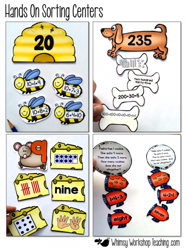 Hands On Centers for high engagement in math sense - set includes 80 centers, 80 posters and 1200+ differentiated printables