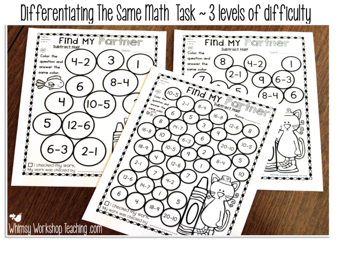 Three levels of difficulty for each no-prep printable makes it easy to differentiate