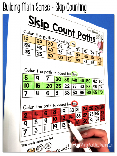 Developing math sense with skip counting paths