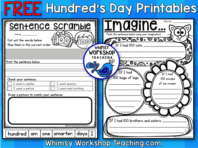 Hundreds Day Free Printables