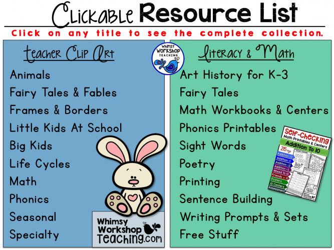 Clickable Resource List to help you find whatever you need in literacy, math and clip art