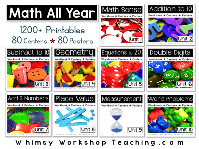 Grade One math program with 80 centers, 80 posters and over 1200 differentiated printables for the entire school year