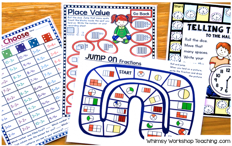 Board games for each math concept allows for a fun way to practice concepts and also encourages peer discussion as they play