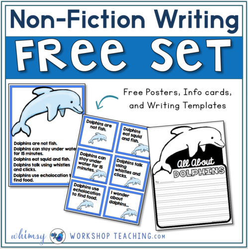 Free set of dolphin research cards and writing template