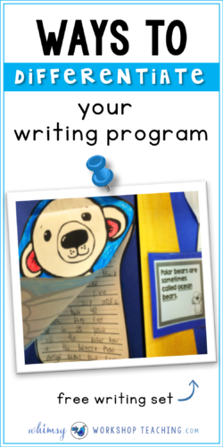 A list of ideas for easy ways to differentiate your writing program, writing centers or non-fiction research projects (free sample set)