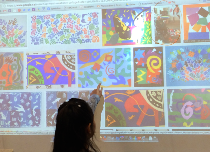 Use the projector to show students images of paintings by famous artists