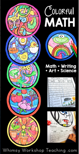 Colorful Math integrates Math, Art, Writing and Science to create stunning bulletin displays. There are 50 differentiated themes to fill your independent math and literacy centers for the whole year.