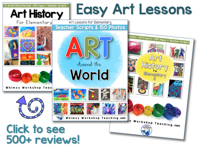 Easy art lessons for elementary students. Includes lots of writing extensions and a teacher script to read aloud as you introduce the topic. Enough to fill your entire year with art!