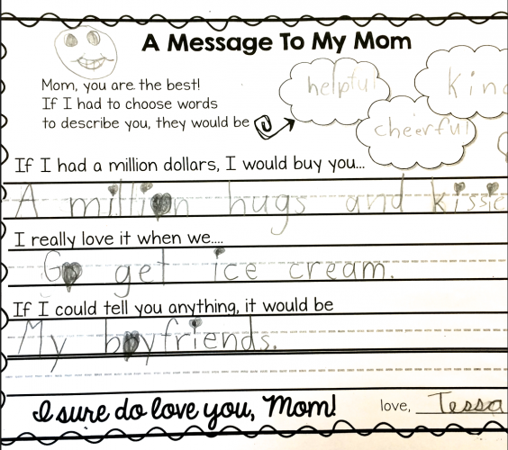 FREE A sweet letter to mom on Mother's Day along with directed drawing templates