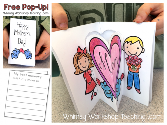 FREE Pop-Up Mother's Day Cards with writing prompt on the back