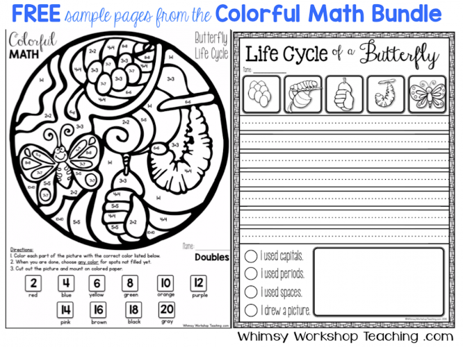 Free pages of Colorful Math integrating math, science, art and writing