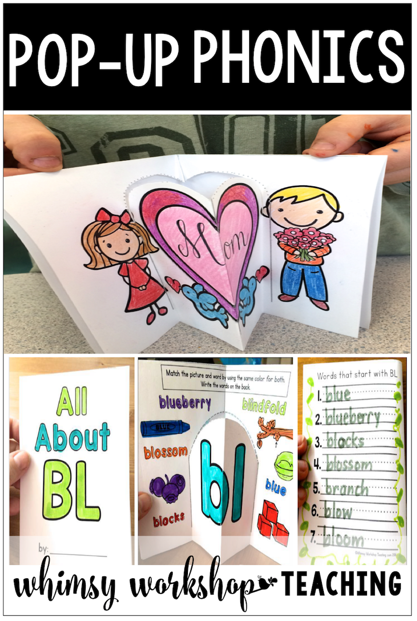 Fun Phonics Activities Pop Up Booklets Made From Simple Interactive Worksheets For Kindergarten Or Grade One Free Pages Whimsy Workshop Teaching