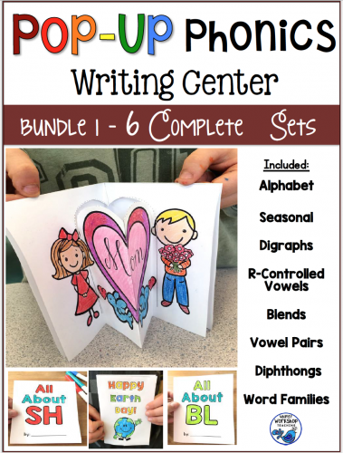 Pop Up Phonics Bundle Simple pop up booklets for the independent writing center