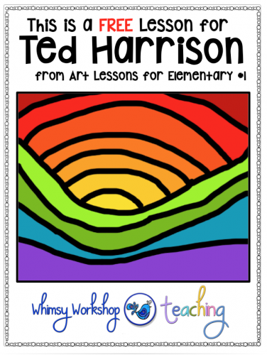 Free guided lesson about Canadian artist Ted Harrison focusing on warm and cool colors