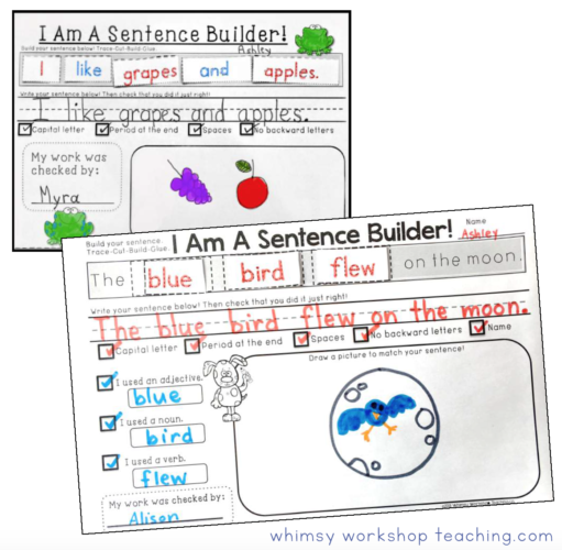 sentence writing practice pages