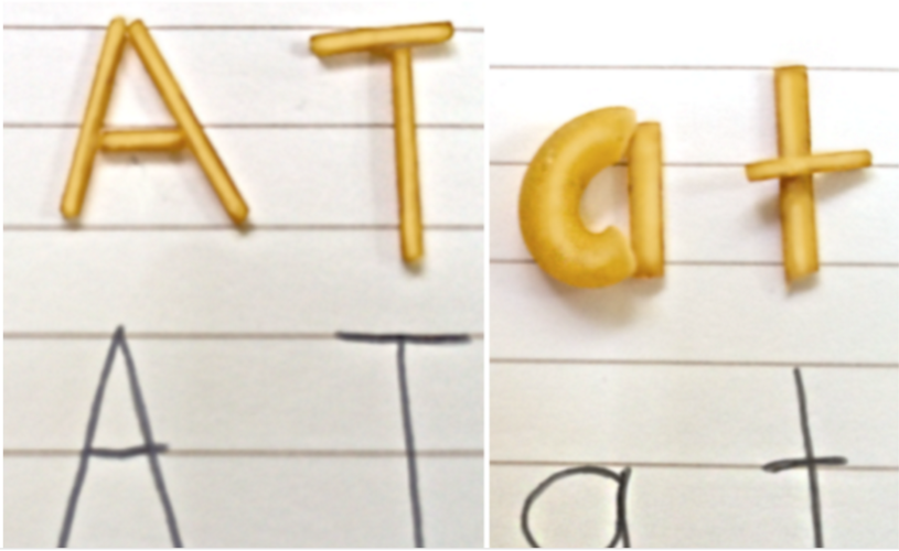 Use pasta to practice writing words or sentences