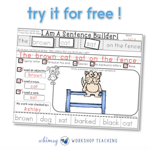 Free set of sentence building printables