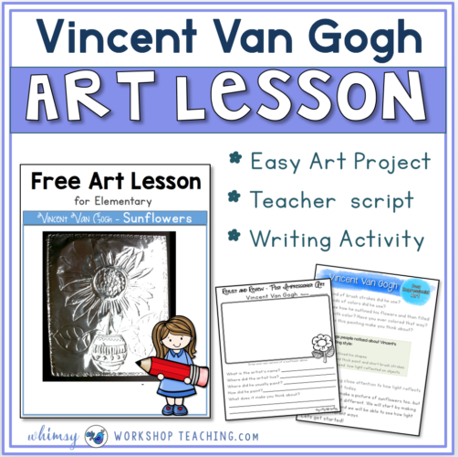 Guided Art Lesson for Vincent Van Gogh with writing templates included.