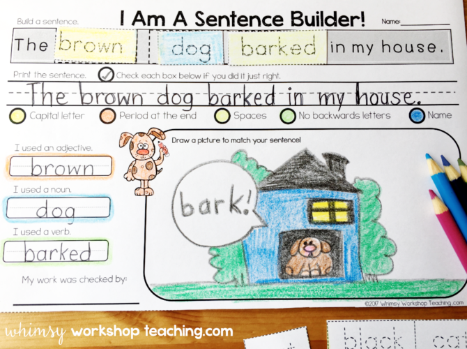 Parts of speech sentence building kits
