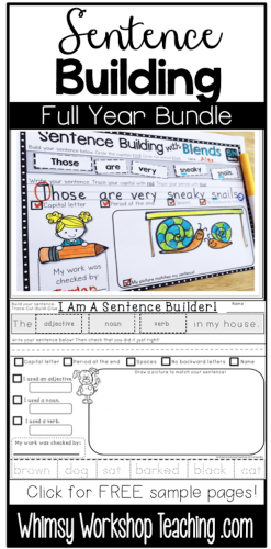 Sentence Building Kits for comprehensive writing conventions. Includes sets for sight words, color words, parts of speech, blends, digraphs, compound words, quotations marks and contractions