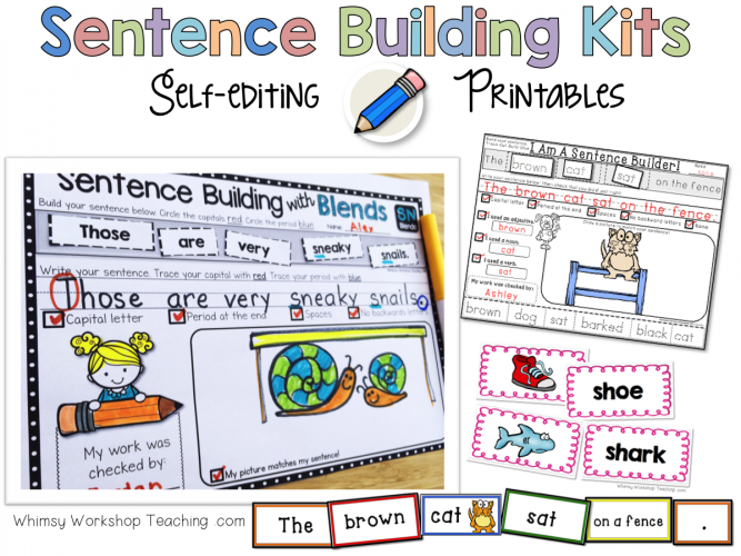 photograph regarding Sentence Building Games Printable referred to as Sentences: Coming up with and Self Enhancing - Whimsy Workshop Coaching