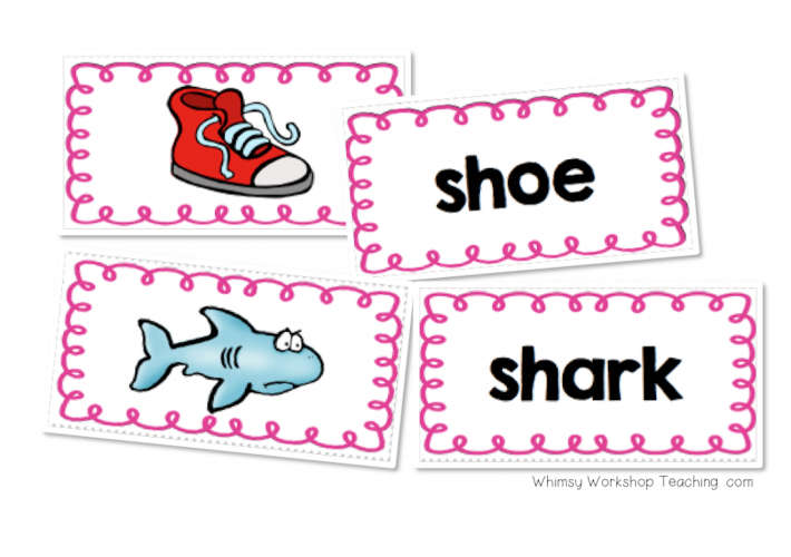 Words with digraphs matching picture and word cards for literacy centers