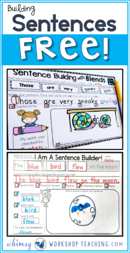 Start teaching self-editing habits when students build and print sentences - and even peer editing with these free printables!