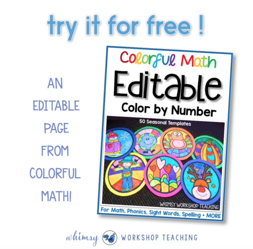 Free EDITABLE sample page from the colorful math set